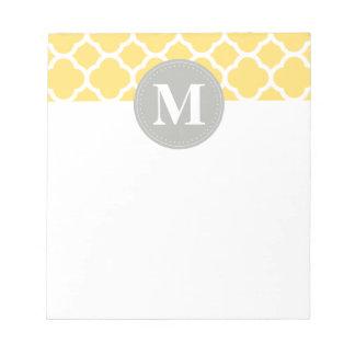 Grey Monogram Yellow Quatrefoil Pattern Memo Note Pad