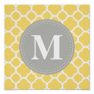 Grey Monogram Yellow Quatrefoil Pattern Poster