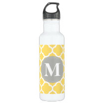 Grey Monogram Yellow Quatrefoil Pattern Water Bottle