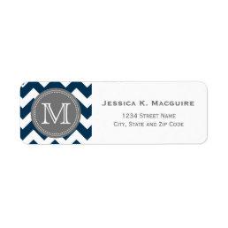 Grey Monogrammed Navy Blue Chevron Label