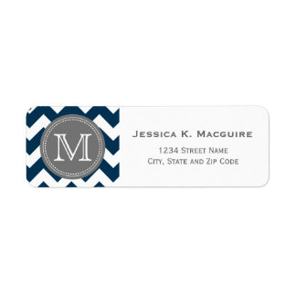Grey Monogrammed Navy Blue Chevron Label