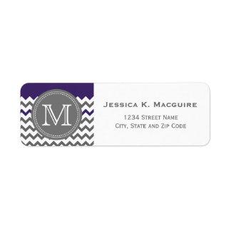 Grey Monogrammed Purple Chevron Label