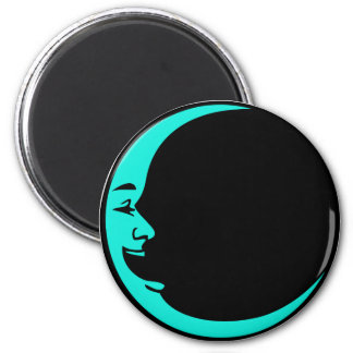 Grey Moon Hot Pink Moon Aqua Yellow Laughing Man 2 Inch Round Magnet