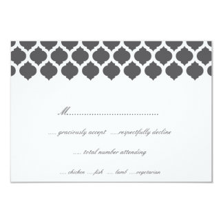 Grey Moroccan Pattern Wedding Party RSVP Cards