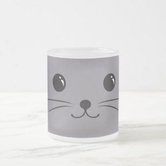 Grey Mouse Cute Animal Face Design Frosted Glass Coffee Mug