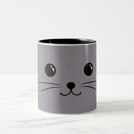 Grey Mouse Cute Animal Face Design Coffee Mug