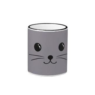 Grey Mouse Cute Animal Face Design Ringer Mug
