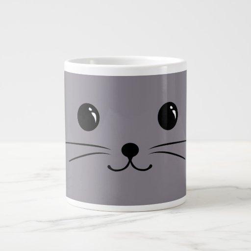 Grey Mouse Cute Animal Face Design Extra Large Mugs
