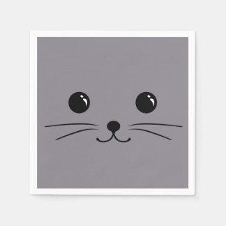 Grey Mouse Cute Animal Face Design Standard Cocktail Napkin