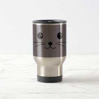 Grey Mouse Cute Animal Face Design Travel Mug
