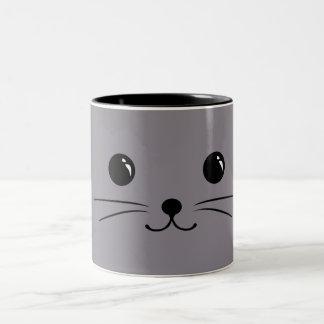 Grey Mouse Cute Animal Face Design Two-Tone Coffee Mug