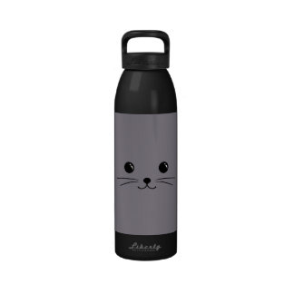 Grey Mouse Cute Animal Face Design Water Bottles