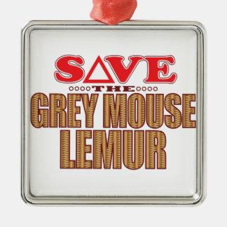Grey Mouse Lemur Save Metal Ornament