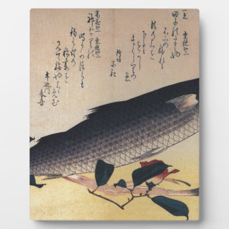 Grey mullet and camellia by Hiroshige Plaque