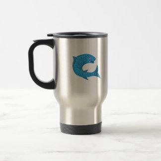 Grey Mullet Jumping Drawing Travel Mug