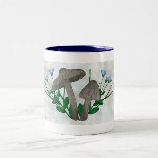 Grey Mushrooms and Flax Drinkware Two-Tone Coffee Mug