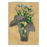 Grey Mushrooms with Flax Card