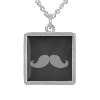 Grey Mustache on Black Chalkboard Necklace