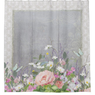 Grey n White Farmhouse Country Chic Floral Peonies Shower Curtain
