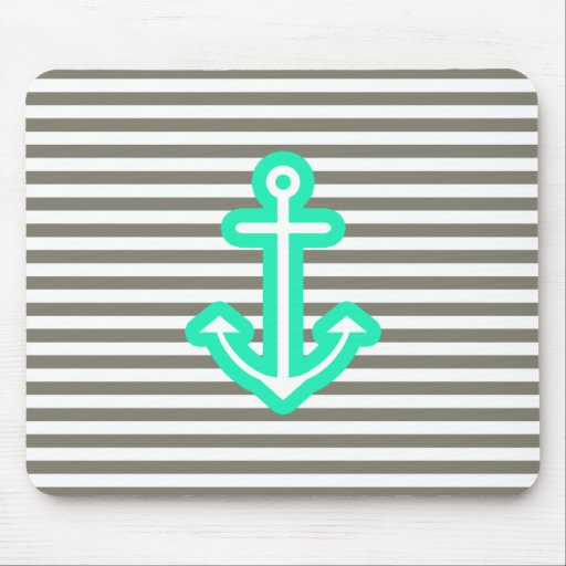 Grey Nautical Mint Anchor Mouse Pad