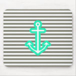 Grey Nautical Mint Anchor Mouse Pads