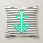Grey Nautical Mint Anchor Pillow