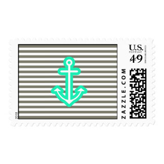 Grey Nautical Mint Anchor Postage