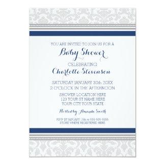 "Grey Navy Blue Custom Baby Shower Invitations 5"" X 7"" Invitation Card"