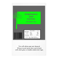 Grey/Neon Green Tree Wedding Large Candy Wrapper Flyer