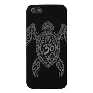 Grey Om Sea Turtle on Black iPhone 5/5S Cases
