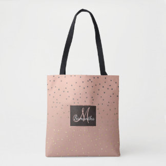 Grey ombre gold glitter polka dots salmon blush tote bag