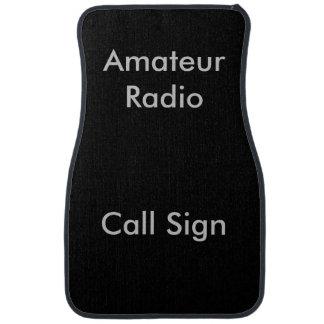 Grey on Black Amateur Radio Call Sign Car Floor Mat