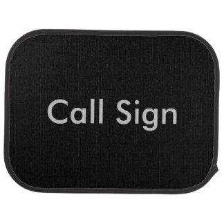 Grey on Black Amateur Radio Call Sign Floor Mat