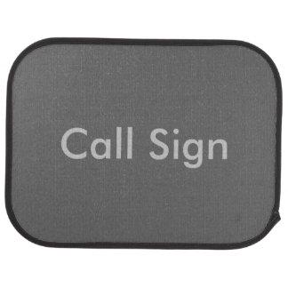 Grey on Charcoal Amateur Radio Call Sign Floor Mat