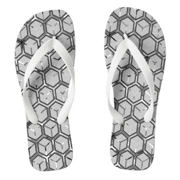 Beach Themed Grey On Grey Honeycomb Pattern Flip Flops