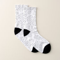 Grey on white branching abstract plant pattern socks