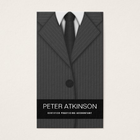 Professional Gray Pinstripe Suit and Tie Business Cards Template