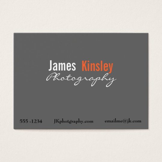 Grey, Orange and white photographer business card