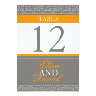 Grey & orange banded wedding table numbers