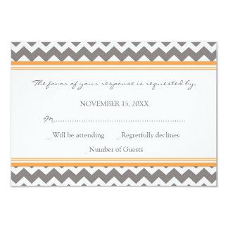Grey Orange Chevron RSVP Wedding Card Personalized Invite