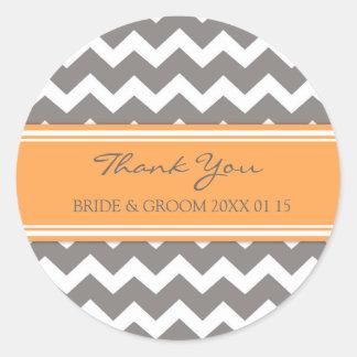 Grey Orange Chevron Thank You Wedding Favor Tags Classic Round Sticker