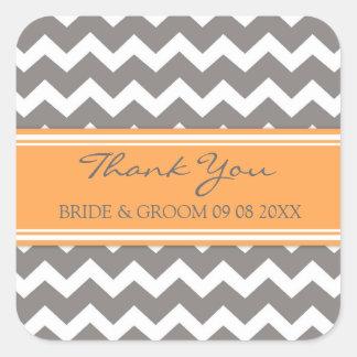 Grey Orange Chevron Thank You Wedding Favor Tags Square Sticker