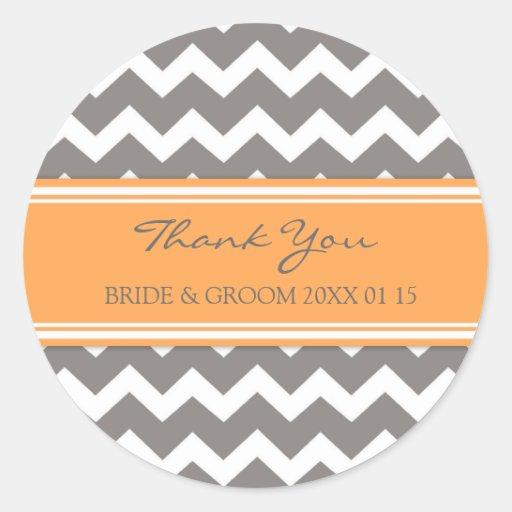 Grey Orange Chevron Thank You Wedding Favor Tags Stickers