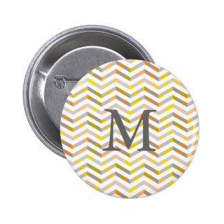 Grey Orange Layered Chevron 2 Inch Round Button