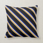 [ Thumbnail: Grey, Orange, Light Cyan, Midnight Blue & Black Throw Pillow ]
