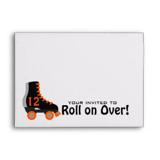 Grey & Orange Roller Skate Invitation Envelope