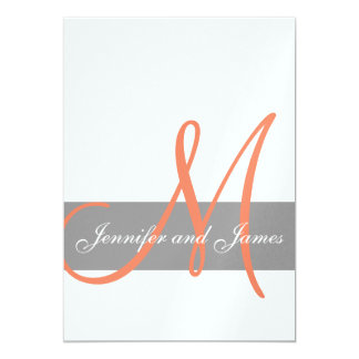 Grey Orange Wedding Invitation | Monogram Names