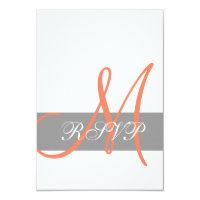 Grey Orange Wedding RSVP Card | Monogram Names