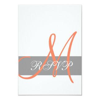 "Grey Orange Wedding RSVP Card   Monogram Names 3.5"" X 5"" Invitation Card"