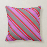 [ Thumbnail: Grey, Orchid, and Red Colored Pattern Throw Pillow ]